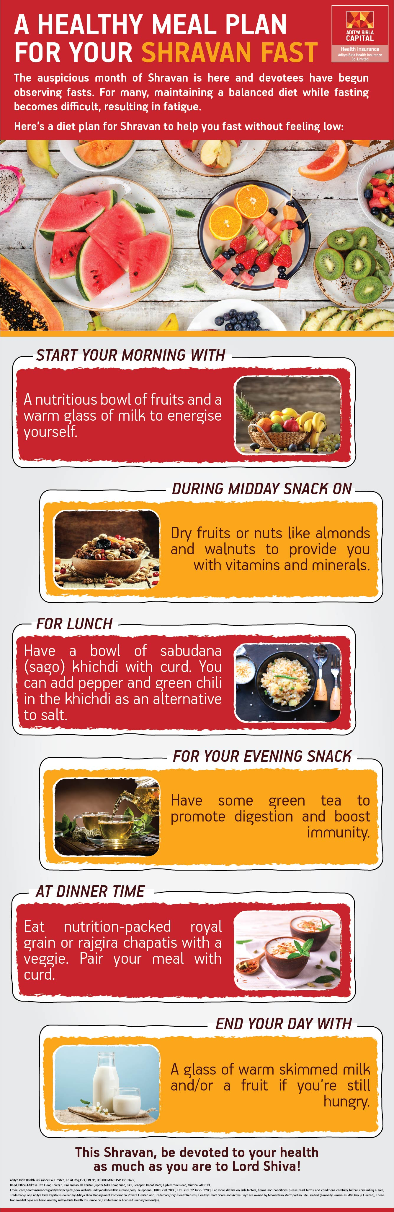 Healthy Meal Plan For Shravan Fast Infographic - Activ Together
