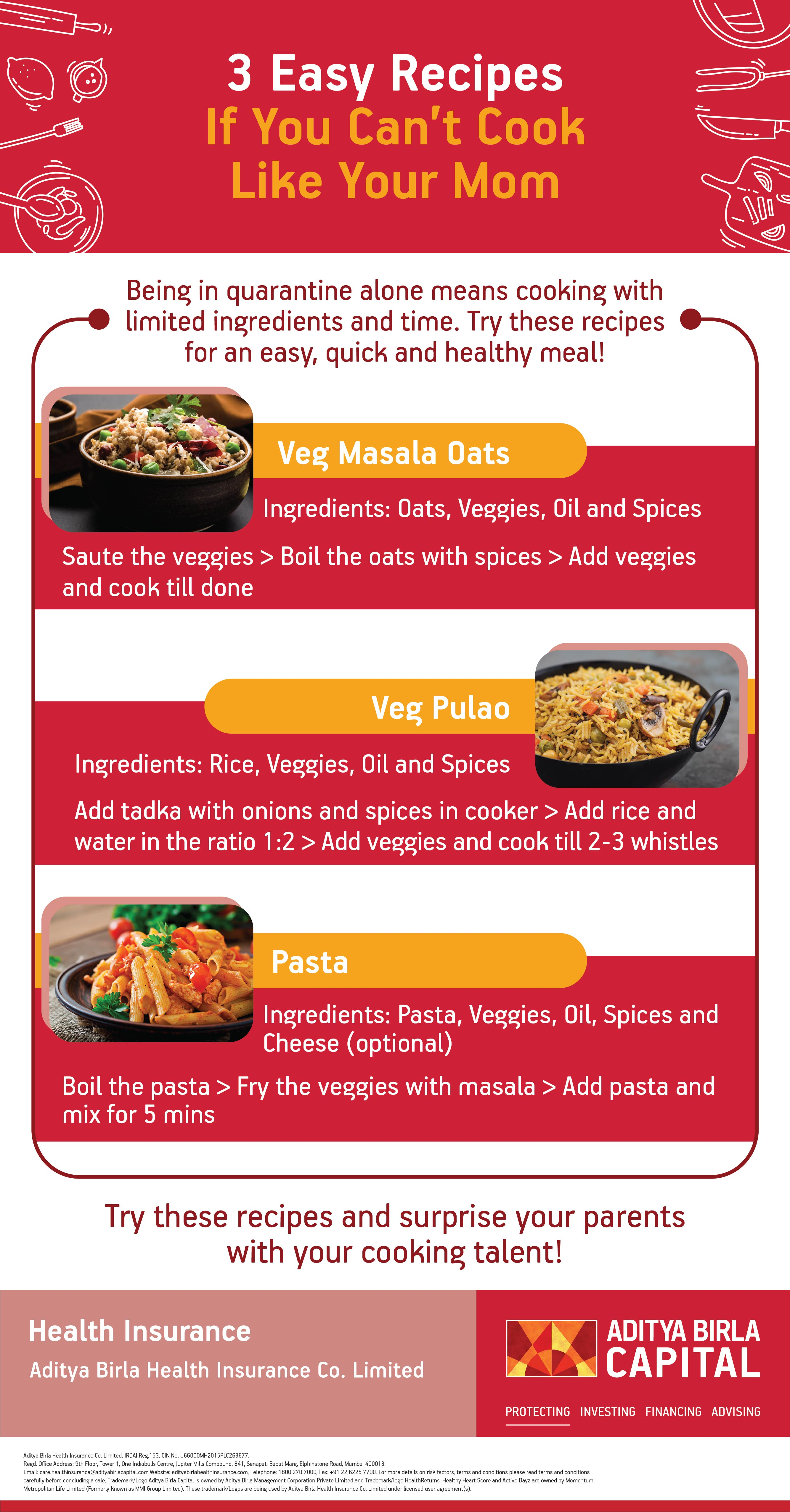 3 Simple Recipes To Cook At Home Infographic - Activ Living