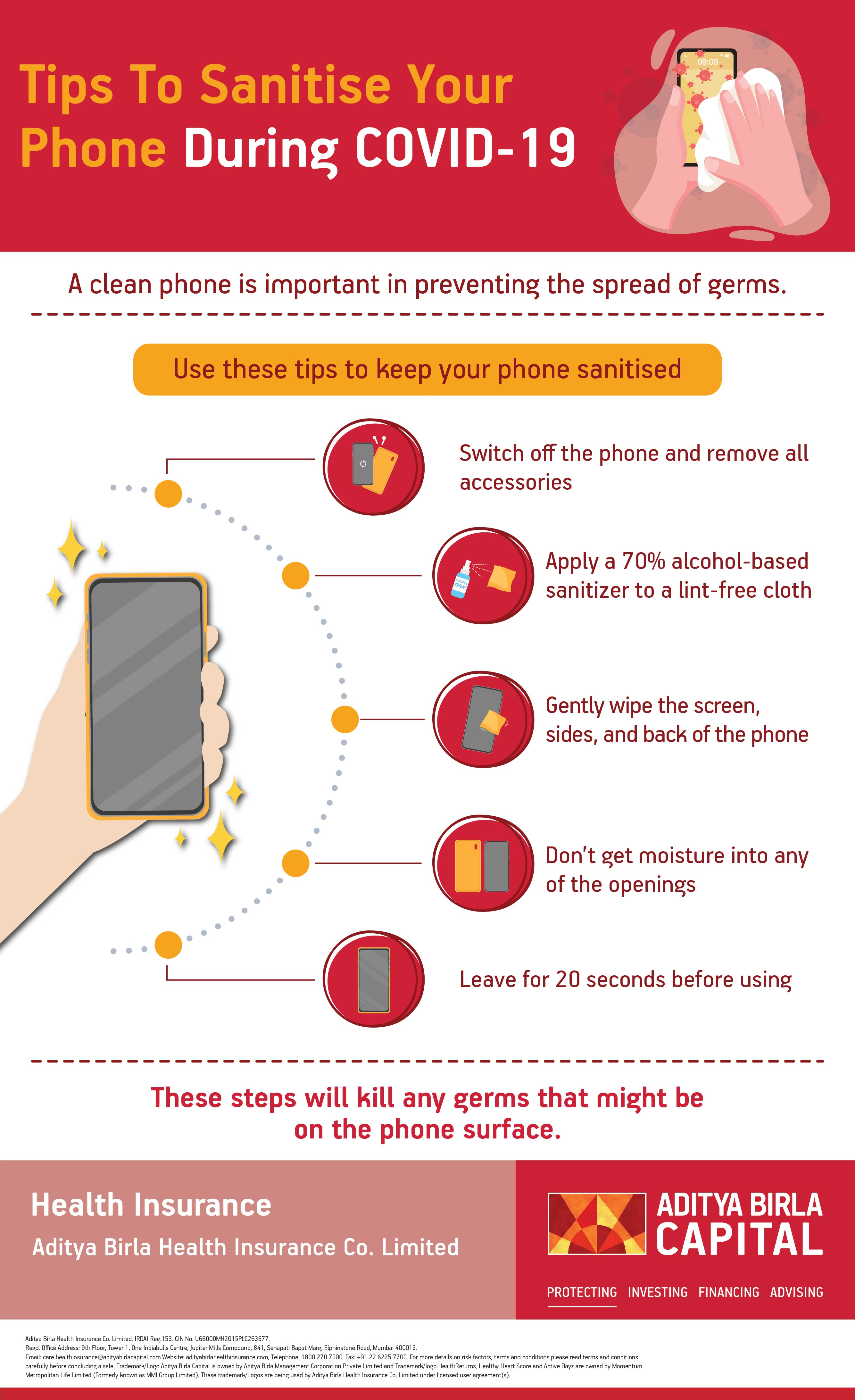 Sanitise Mobile Phones Infographic - Activ Living
