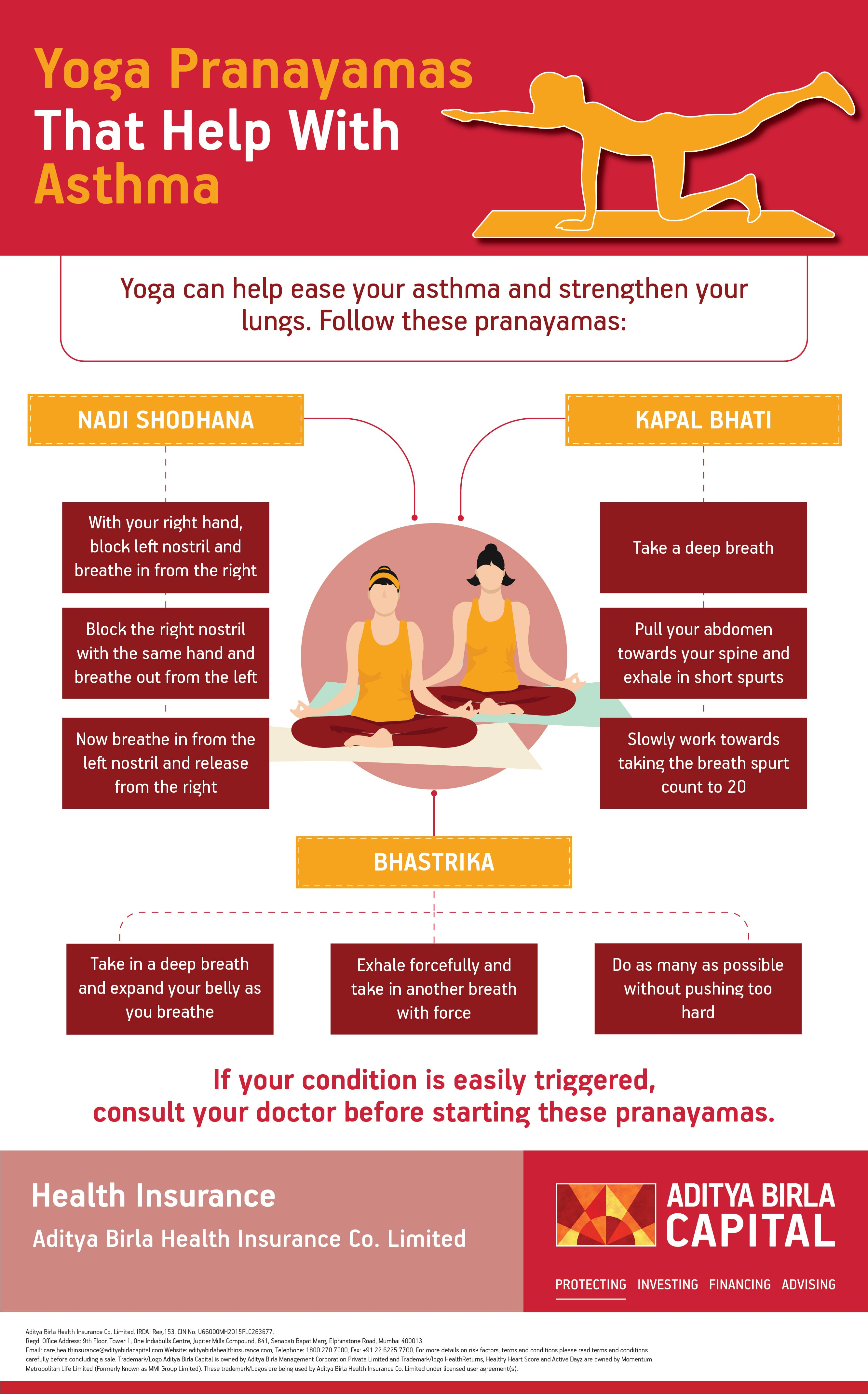 Yoga Pranayamas For Asthma Infographic - Activ Living